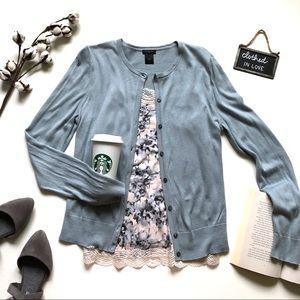 Ann Taylor Blue Floral Lace Cardigan & Cami Set